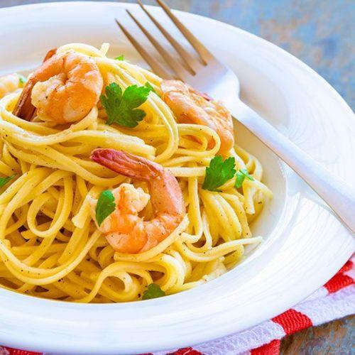 Chilli & Garlic Prawn Linguini