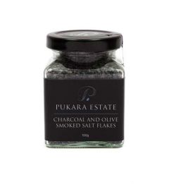 Charcoal and Olive Smoked Salt Flakes 100gm