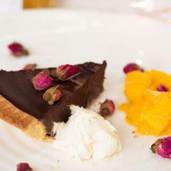 Chocolate Ganache Tarts with White Wine Liqueur Vinegar Glazed Oranges