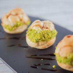 Mortadella & buffalo ricotta mousse in choux pastry