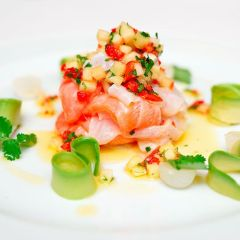 Salmon Ceviche with Guava Dressing