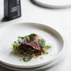 Seared Eye Fillet Carpaccio and Goats Cheese Dressing By Ben Milbourne